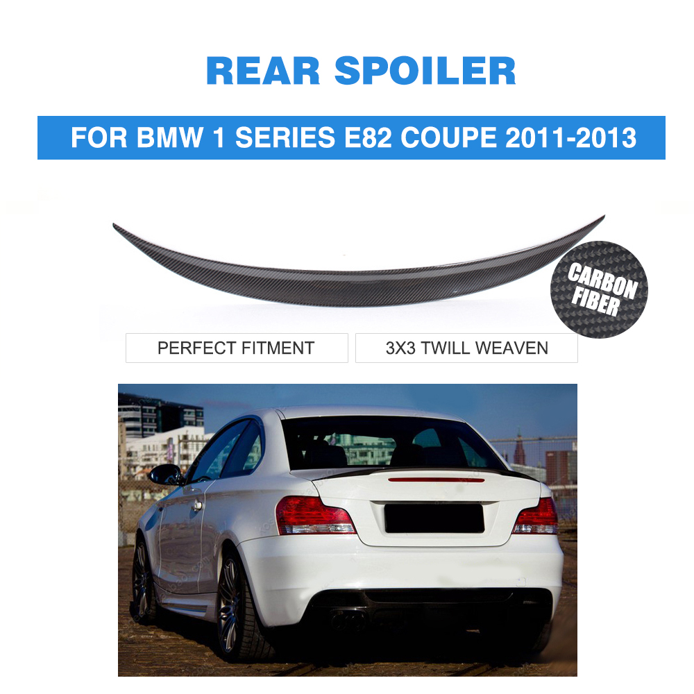Carbon fiber rear boot lip spoiler wing for bmw 1 series e82 coupe 2011 2013 trunk trim sticker spoiler car styling
