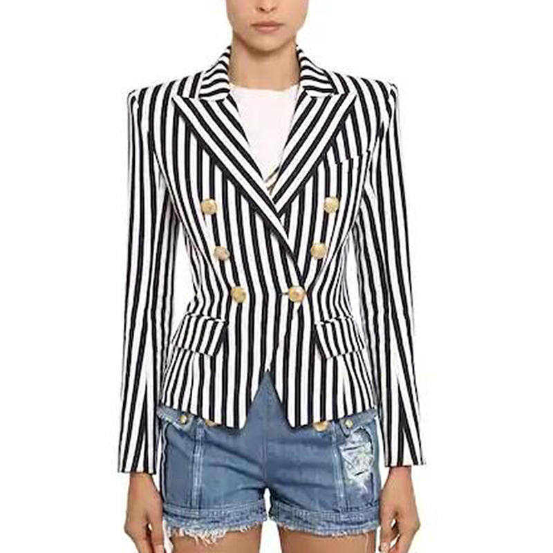 TOP QUALITY Newest 2020 Stylish Designer Blazer Women's Lion Buttons Double Breasted Classic Striped Print Blazer Jacket