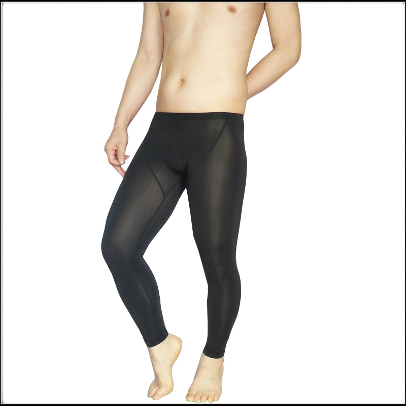 Manview Male Tight-fitting Thin Trousers Men Ankle Length Legging Gay Sexy Ice Silk Body Shaping Sleep Bottom 1361