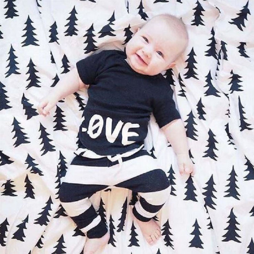 Infant Baby Clothing Sets boy clothes set kids  Spring Autumn Outfits Set black love shirt +Black and white striped pants 2pcs set baby clothes set boy