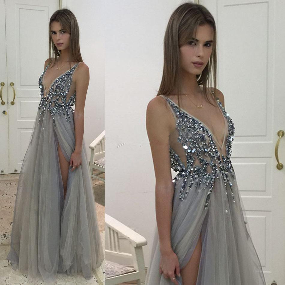 Sexy Silver Gray Evening Dresses 2017 V Neck Illusion Bodice Sequins Beaded  Tulle Split Backless Evening Party Prom Gown 290cbc354caf