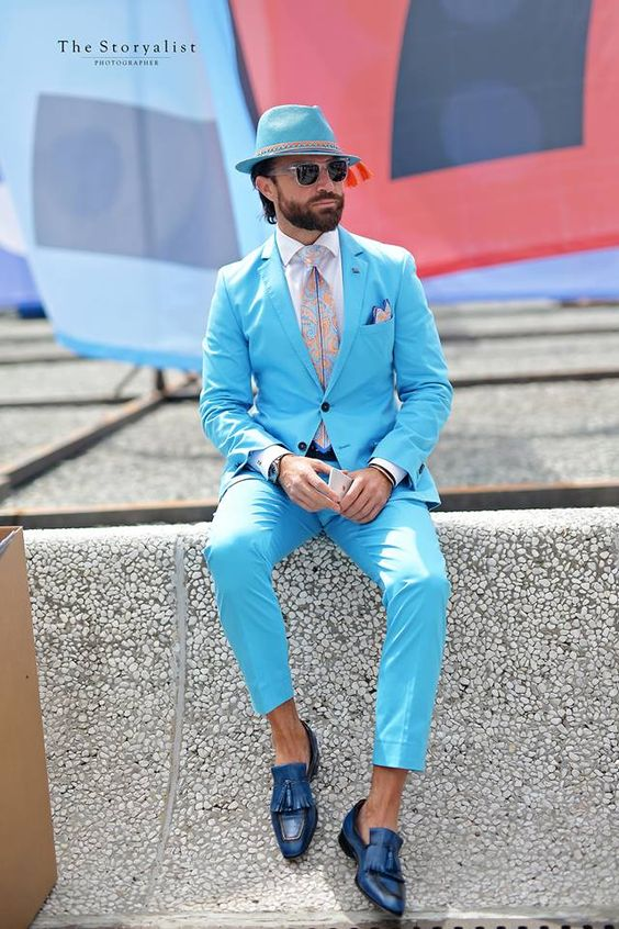 ᐃTailor Made Sky Blue Groom Tuxedos For Beach Wedding 2 Pieces Slim ...