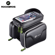 Thanksgiving Day ROCKBROS Bicycle Front Tube Frame Bag Waterproof MTB Bike Touchscreen Phone Bags 5.8/6.0 Inch Reflective Cycling Accessories