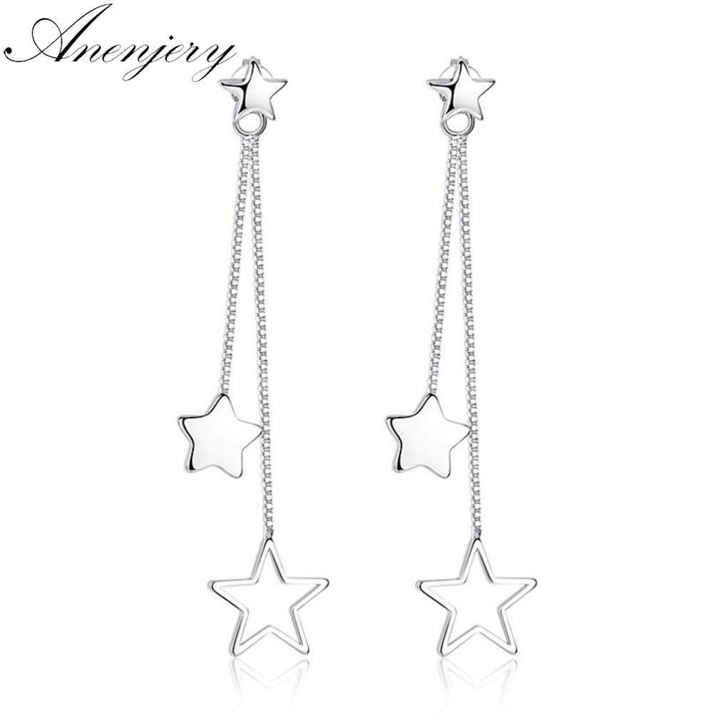 Anenjery 925 Sterling Silver Stud Earrings pendientes 3 Star Tassel Earrings For Women oorbellen boucle doreille femme S-E316