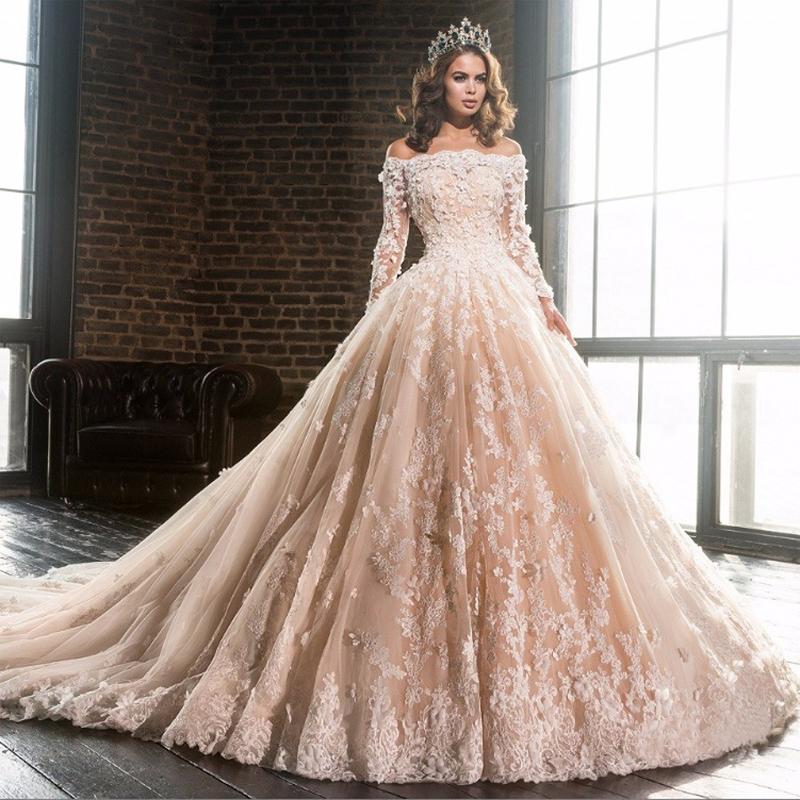 Luxury Champagne Boat Neck Lace Wedding Gowns Long Sleeve Vestidos ...