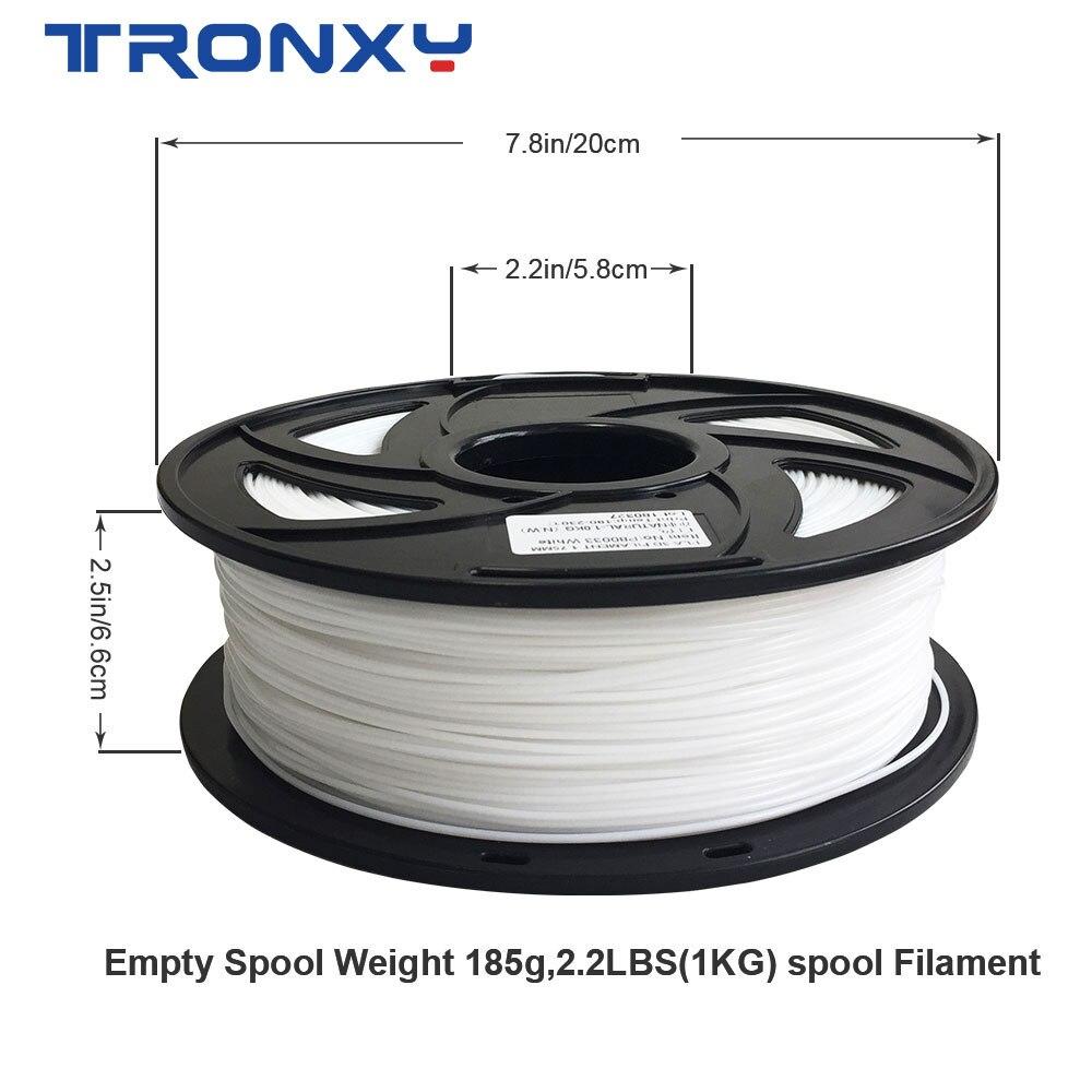 Free Shipping Tronxy Plastic Filament PLA for 3D Printer Filaments 1KG Filament 1.75mm 19 Colors Optional
