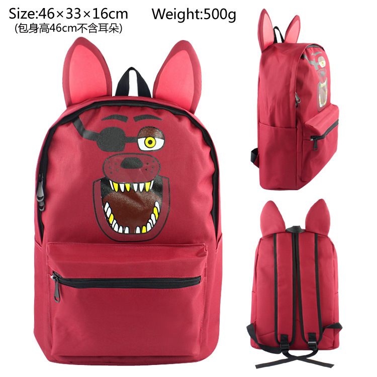 Red FNAF Anime Five Nights At Freddys With Ear Backpack Freddy Nylon Backpack Messenger School Rucksack Student Student Bag Gift
