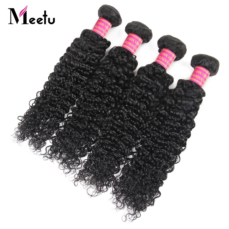 Meetu Hair 4 Bundles Peruvian Kinky Curly Human Hair Weave Bundles Deal Natural Color Non Remy Human Hair Extensions