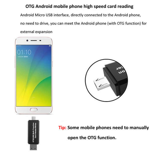 Electop Type C Micro USB USB 3 In 1 OTG Card Reader High-speed USB2.0 Universal OTG TF/SD for Android Computer Extension Headers 4