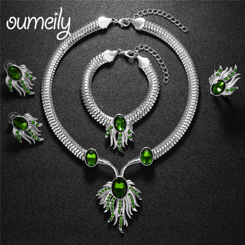 OUMEILY Jewelry Sets Nigerian Wedding African Jewelry Set Round Silver Color Dubai Jewelry Sets For Women Ladies Jewellery Set 2017 african wholesale round silver plated rhinestone with square shape earrings jewellery sets for women