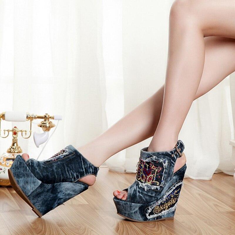 Vintage Shoes Summer High Heels Open Toe Denim Blue jeans Sandals Fashion Rhinestone Buckle Woman Wedges Peep Toe Cowboy Shoes