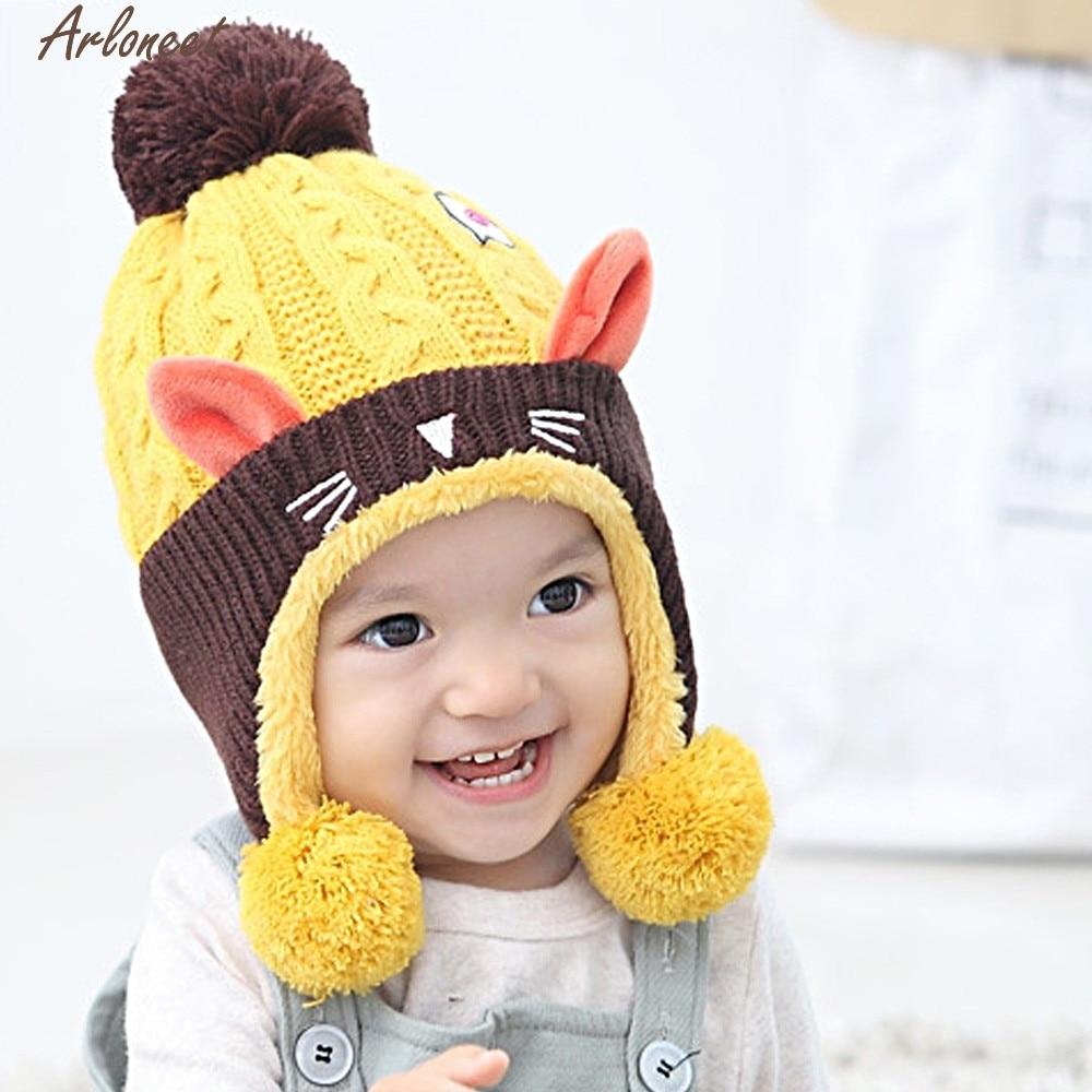 Arloneet малыша Детские Двойные Мячи для девочек и мальчиков Вязание шерсть Утепленная одежда Шапка-бини ребенка с Мех животных помпоном JAN8