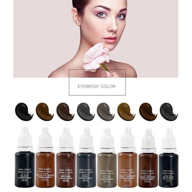 8 Pcs Microblading Permanent Makeup Pigment Colorfastness Professional Eyebrow Micro Tattoo Ink Set Permanent Eyebrow Pigments