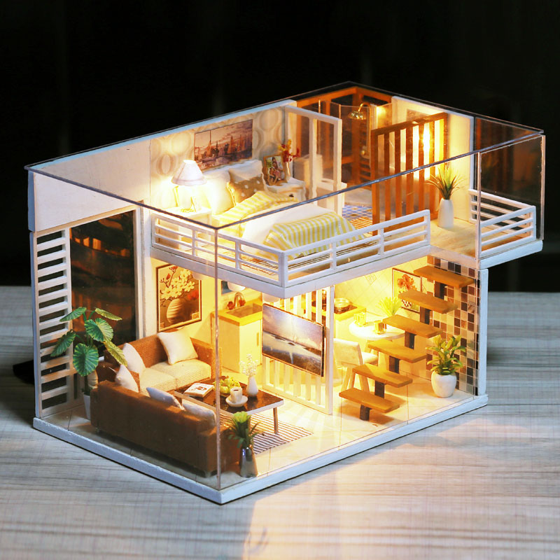 Assemble DIY Doll House Toy Wooden Miniatura Doll Houses Miniature Dollhouse Toys With Furniture Dust Cover LED Birthday Gift