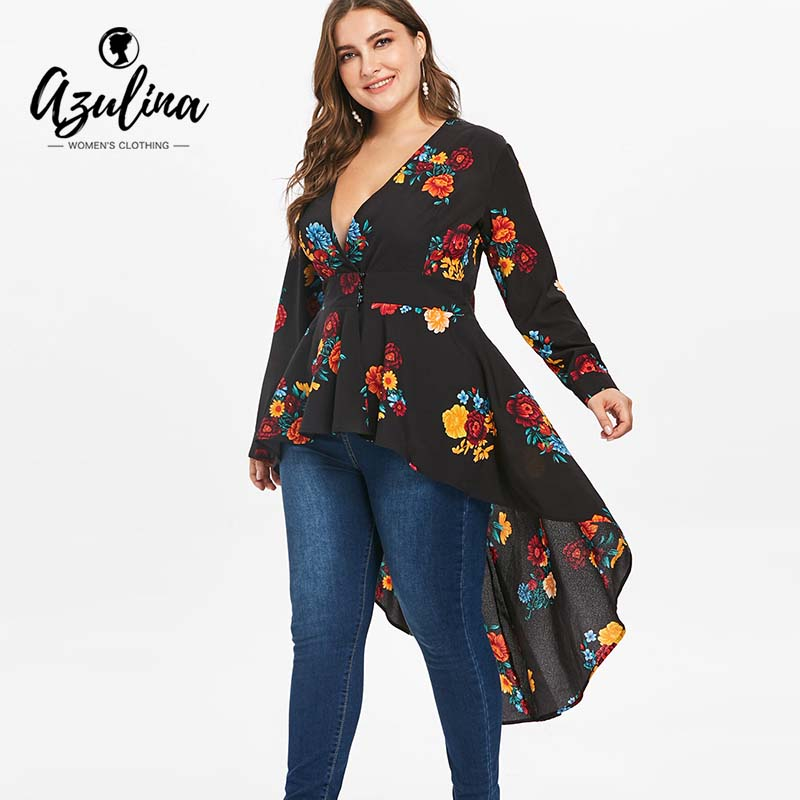 AZULINA Plus Size Sexy V Neck High Low Floral Maxi Blouse Autumn Long Sleeve Asymmetrical