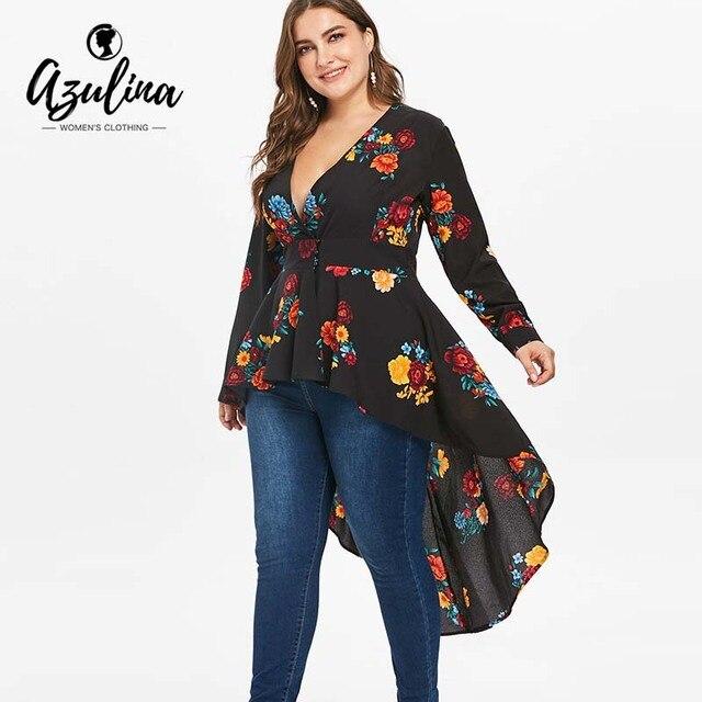 4b35a7b9df96b AZULINA Plus Size Sexy V Neck High Low Floral Maxi Blouse Autumn Long Sleeve  Asymmetrical Blouses Casual Shirt Women Tops Blusas