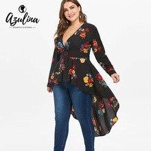 AZULINA Plus Size Sexy V Neck High Low Floral Maxi Blouse Autumn Long Sleeve Asymmetrical Blouses Casual Shirt Women Tops Blusas
