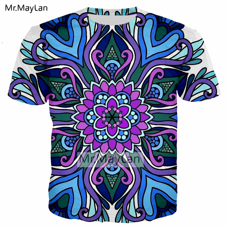 Mandala Flowers 3D Print Tshirt Men women Casual Streetwear T shirt Symetrical Art Sublimation Tee T shirt Boys Hipster Clothes in T Shirts from Men 39 s Clothing