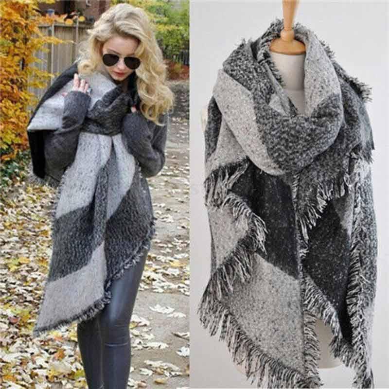Fashon Women Plaid Scarf Neck Warm Large font b Tartan b font Wrap Stole Wool Tassel