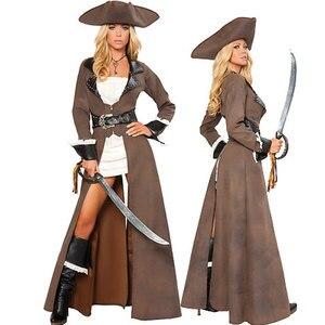 新セクシーな海賊の衣装、女性海賊コスプレで革のコート変装ハロウィンコスチュームセット