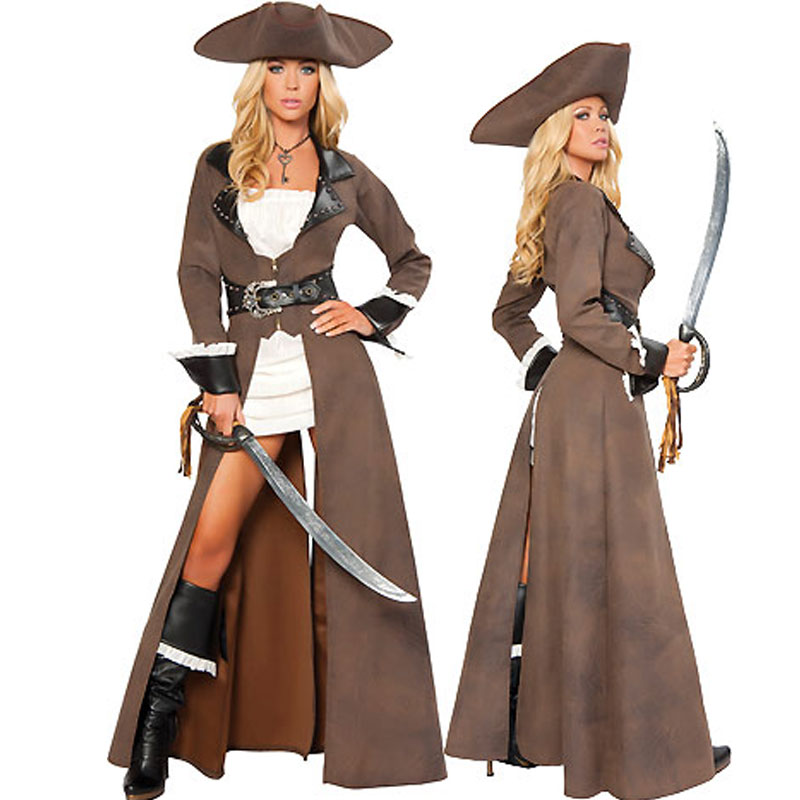 New <font><b>Sexy</b></font> Pirates of the Caribbean <font><b>costumes</b></font>,female pirate cosplay with long leather coat for women Disguise <font><b>Halloween</b></font> <font><b>Costume</b></font> set image