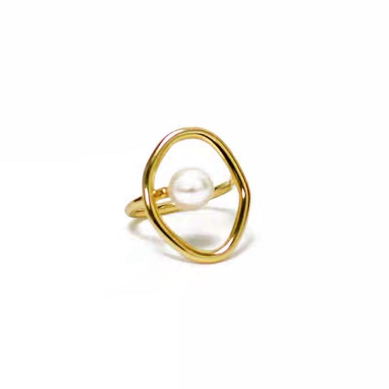 AOMU модный подарок для девочек, металлическое кольцо для женщин, ювелирное изделие, геометрическое круглое кольцо, аксессуары для уличной фотосессии, кольцо с искусственным жемчугом - Цвет основного камня: 1