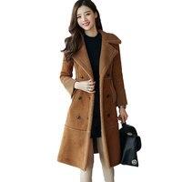 Faux Lambs Wool Jacket Women 2019 Thicken Cotton Coat Winter Jacket Women Double Breasted Long Parka Wadded Coat Women 3XL C3780