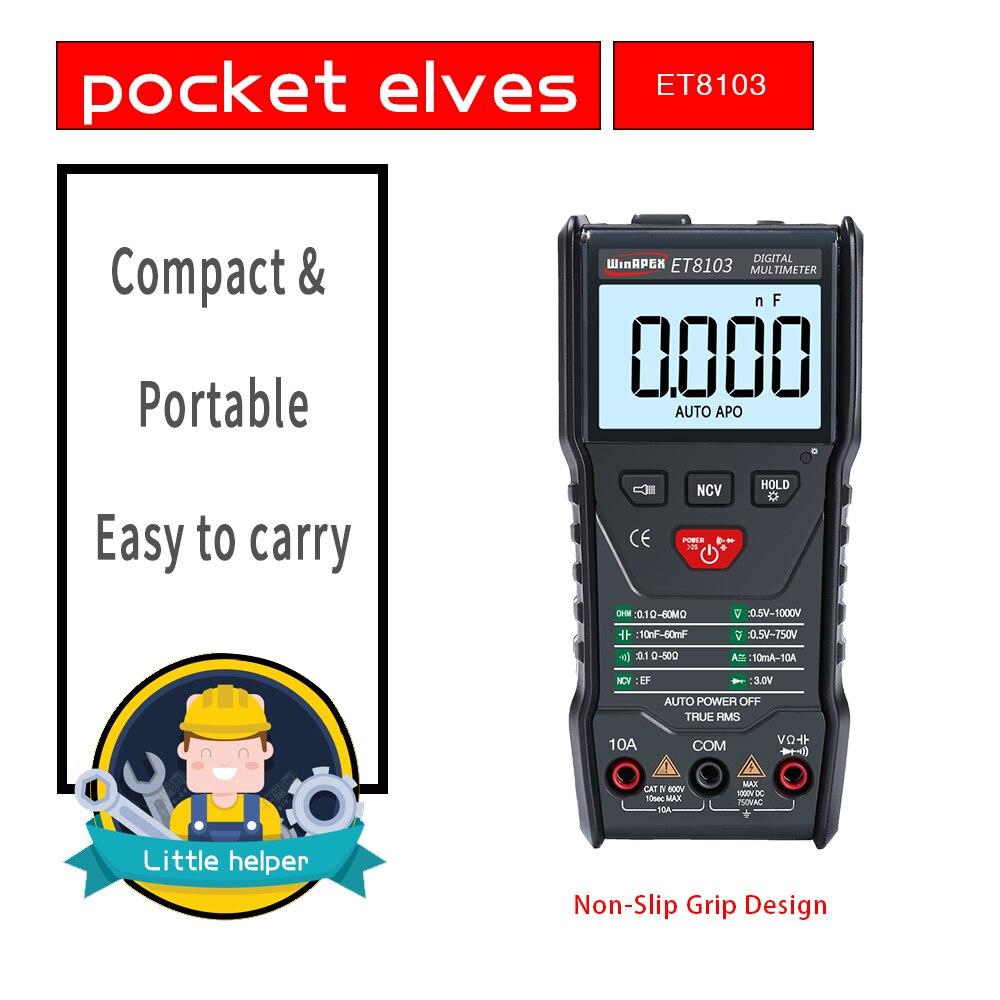 WinAPEX ET8103 LCD Display Portable Auto Measure Multimeter AC/DC Voltage Current Capacitance Electric Field Resistance Meter