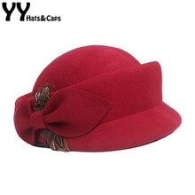 b025105924 YY Inverno Quente Lã Pena Chapéu Vermelho Do Casamento Do Vintage de Feltro  Preto Fedora Chapéus Senhora Elegante Britânico Cap .