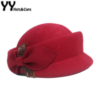 YY Winter Warm Feather Wool Vintage Wedding Hat Red Black Felt Fedora Hats Lady Elegant Church Cap British Cloche Chapeau 18123