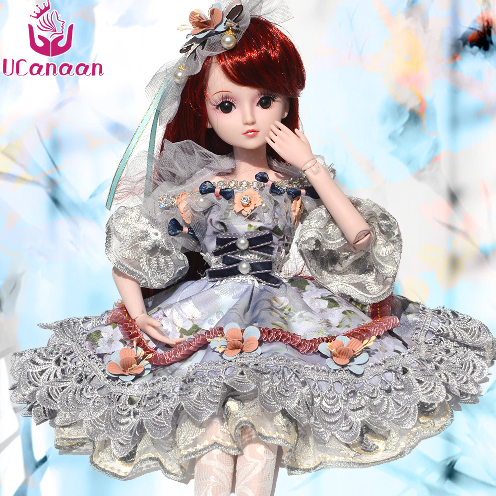UCanaan 1/3 Girls BJD Doll 19 Ball Jonits Dolls With All Outfit Shoes Wigs Dress Makeup Children DIY SD Toys Kids Birthday Gifts 18 inch girls dolls handmade bjd dolls for girls toy gifts 45cm plastic doll with princess doll with white dress and shoes