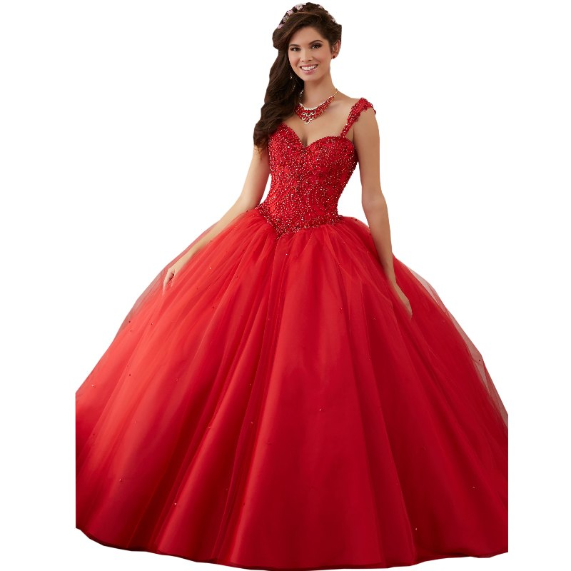 2017 Cheap Red Quinceanera Dresses With Straps Ball Gown Corset Back
