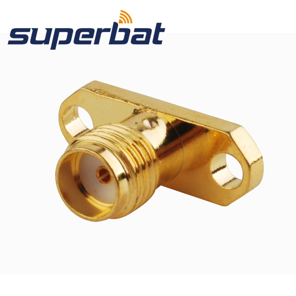Superbat 100pcs RF Coaxial Connector SMA 2 Hole Panel Mount Female Jack With Long Dielectric And Solder Post