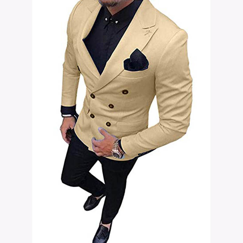 Fashion beige Man Suit 2019 terno slim fit Groom Tuxedo Bespoke mens Suit With Black Pants Wedding Suits For men (Jacket+Pants)