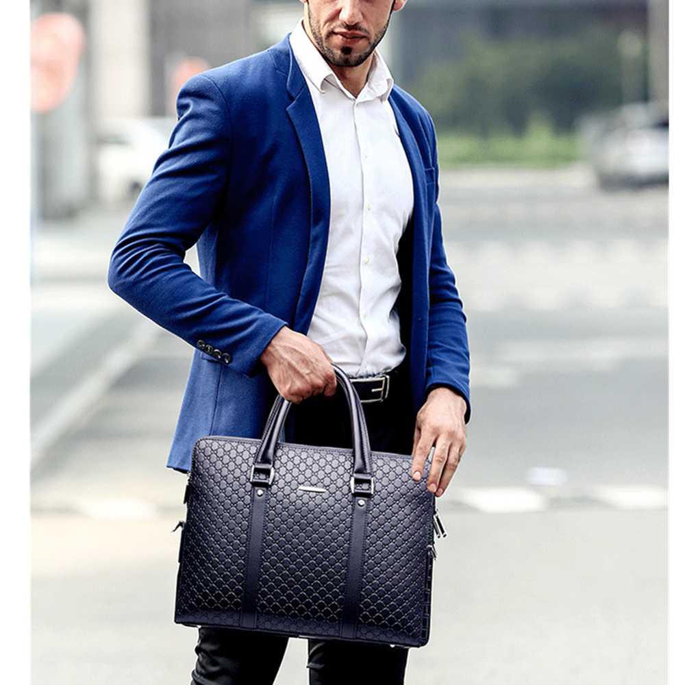 Nouveau Double couches hommes en cuir mallette d'affaires décontracté homme sac à bandoulière sac de messager hommes ordinateurs portables sacs à main hommes sacs de voyage - 4