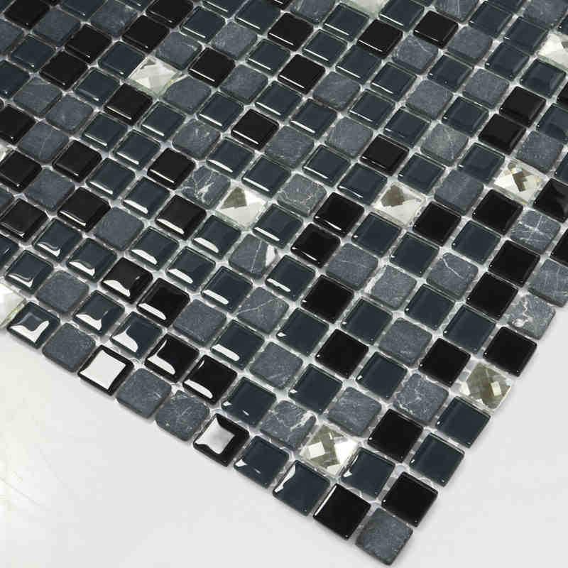 negro piedra de cristal mixto y diamante mosaico de azulejos para bao ducha backsplash de la