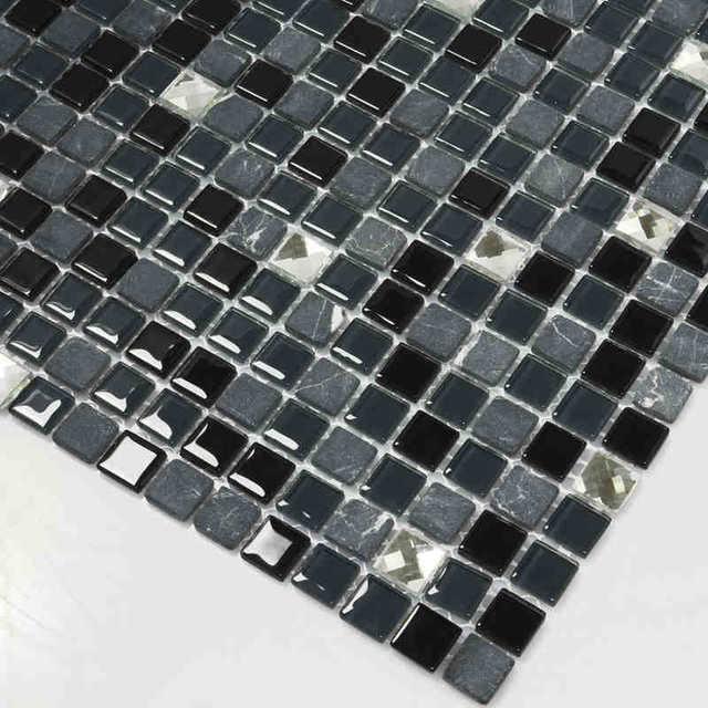 Vetro nero misto di pietra e diamanti tessere di mosaico per cucina ...