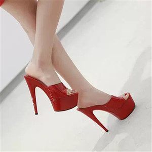 Image 2 - WADNASO Woman Wedding Shoes Sandals 2019 Nightclub Sexy High heeled 15CM Shoes Slippers Fine With Waterproof Sandal Summer Pumps