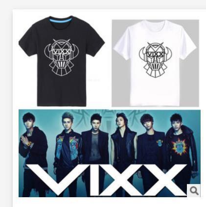 Вуду Vixx 2016 BTS Vixx Тройники с коротким рукавом рубашки отбывает Vixx рубашка k-pop кен С Капюшоном Топы Vixx