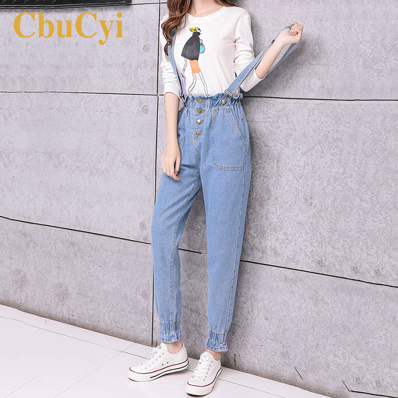 New Style Straps Jumper Pants Women High Waist Jeans Overalls For Women Vintage Cotton Denim Jeans Trousers Straps Jumpsuits