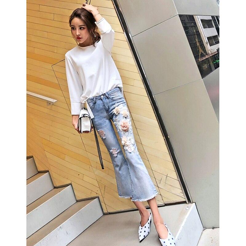 Jeans Déchiré Light Bleu Broderie Flare Femelle Mince Blue Pantalon Fleur Femmes Milieu 2018 Rue Taille Veau longueur Haute Denim Trou UqnIxwEgYg