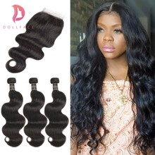 human hair bundles with closure body wave virgin Peruvian hair weave bundles Extension with closure freeshipping dollface(China)