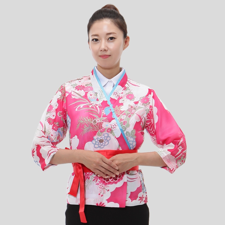 Female Japan Cuisine Suit Restaurant Service Uniform Kimono Print Work Wear Waitress Chef Uniform