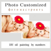 Modern Photo Customized Pictures Painting By Numbers DIY Oil Cancas Art Coloring By Numbers Wedding Family
