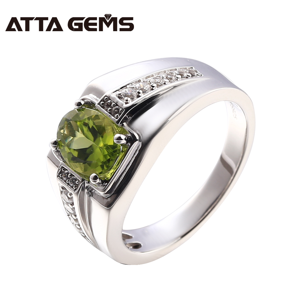 Natural Peridot Sterling Silver 1.3 Carats Natural Peridot Silver Women Ring Special Design Men Ring Business Jewelry Rings