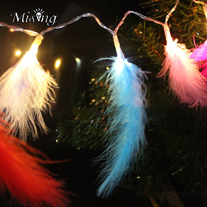 Mising 1.2M 10 LED 2XAA Battery Feather String Lights Outdoor Garden Party Lamp Christmas Pendant Lamps DIY Holiday Decoration