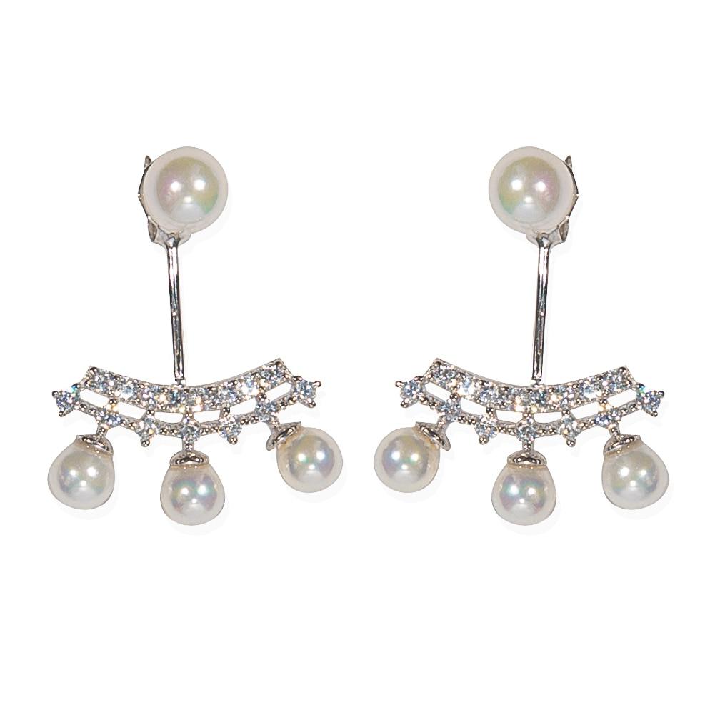 Trinketsea 2017 New Arrival 925 Sterling Silver Pearl Stud Earrings Jackets  Women Fashion Charm Jewelry Trendy