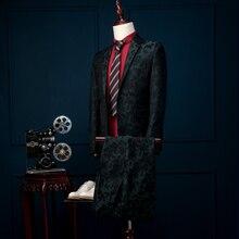 costume homme Fashion Custom Men suit terno masculino  jacket + pants slim blue grid men's Blazers groom wedding dress