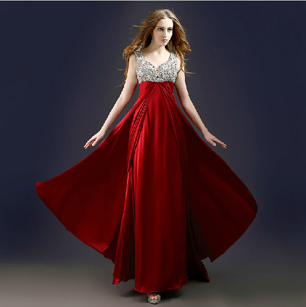 2018 vestido de festa party prom gown elegant sexy v-neck new style custom crystal beading women casual   bridesmaid     dresses