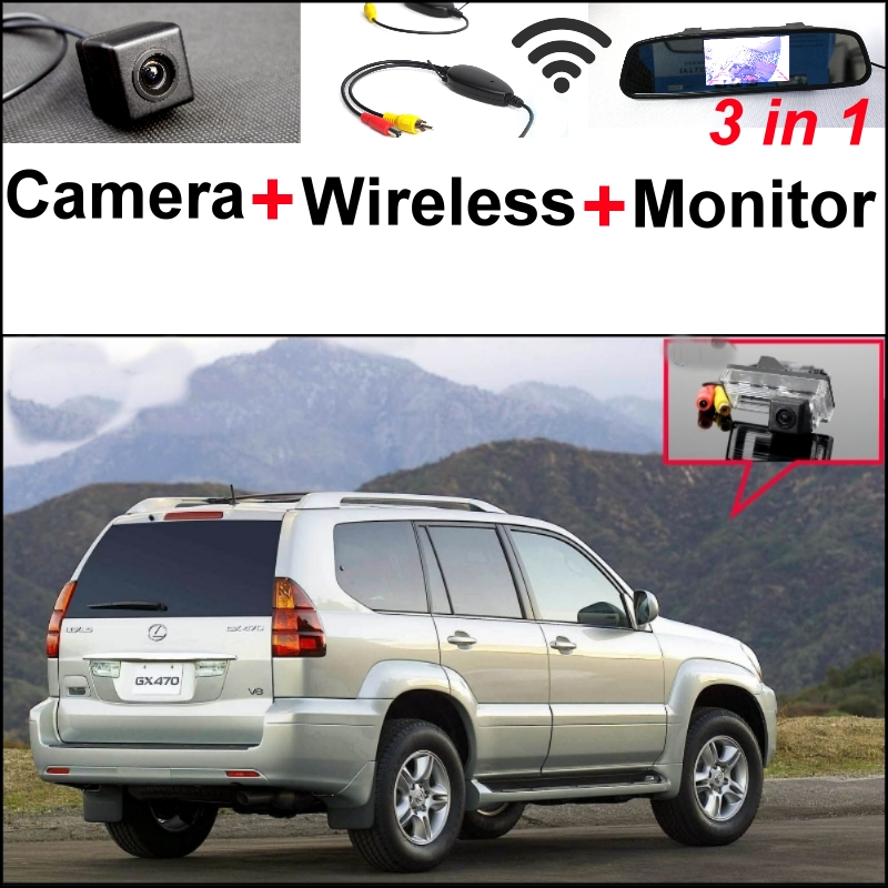 Mirror Monitor Easy Backup Parking System + 3 in1 Special Rear View Wifi Camera + Wireless Receiver For Lexus GX 470 GX470 wireless pager system 433 92mhz wireless restaurant table buzzer with monitor and watch receiver 3 display 42 call button